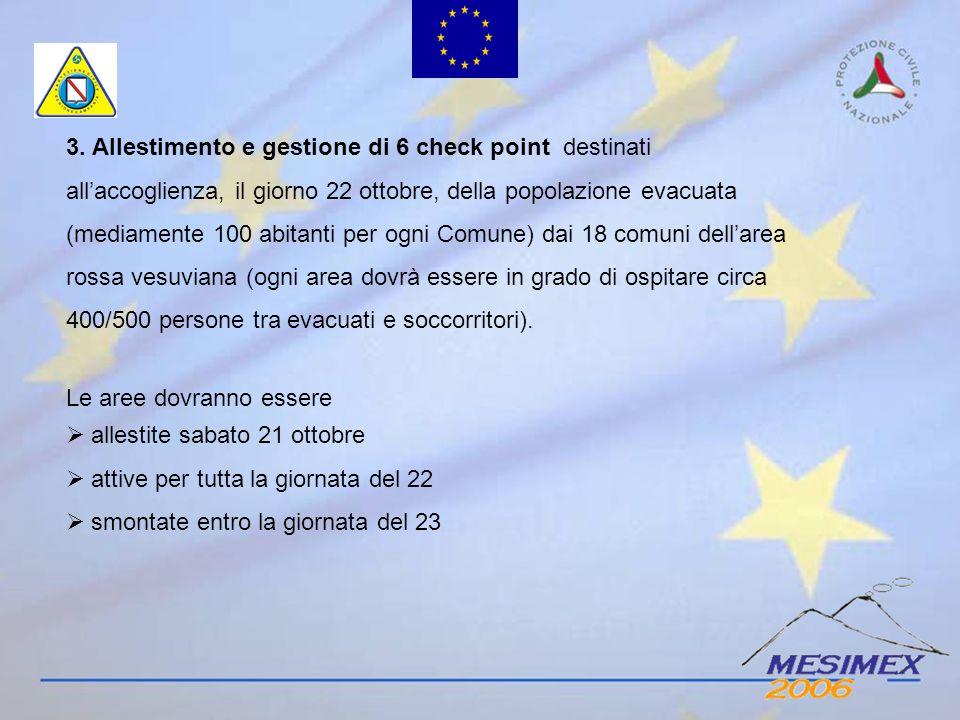 3. Allestimento e gestione di 6 check point destinati allaccoglienza, il giorno 22 ottobre, della popolazione evacuata (mediamente 100 abitanti per og