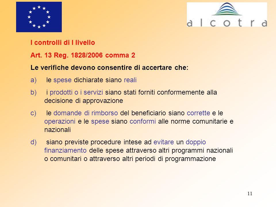 11 I controlli di I livello Art. 13 Reg. 1828/2006 comma 2 Le verifiche devono consentire di accertare che: a) le spese dichiarate siano reali b) i pr