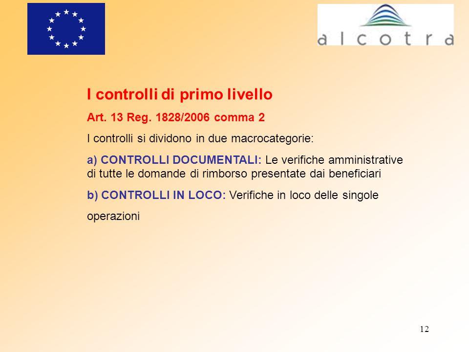 12 I controlli di primo livello Art. 13 Reg. 1828/2006 comma 2 I controlli si dividono in due macrocategorie: a) CONTROLLI DOCUMENTALI: Le verifiche a