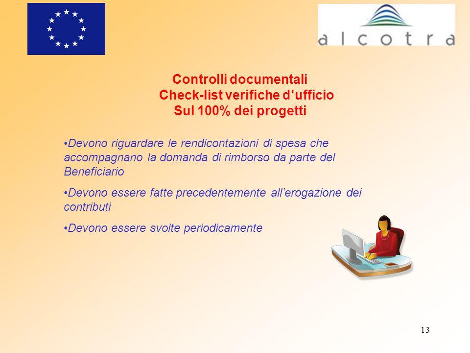 13 Controlli documentali Check-list verifiche dufficio Sul 100% dei progetti Devono riguardare le rendicontazioni di spesa che accompagnano la domanda