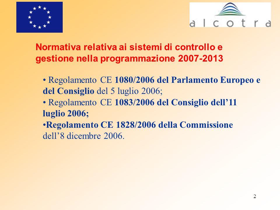 2 Normativa relativa ai sistemi di controllo e gestione nella programmazione 2007-2013 Regolamento CE 1080/2006 del Parlamento Europeo e del Consiglio