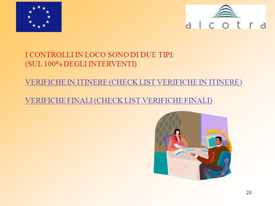 20 I CONTROLLI IN LOCO SONO DI DUE TIPI: (SUL 100% DEGLI INTERVENTI) VERIFICHE IN ITINERE (CHECK LIST VERIFICHE IN ITINERE) VERIFICHE FINALI (CHECK LI
