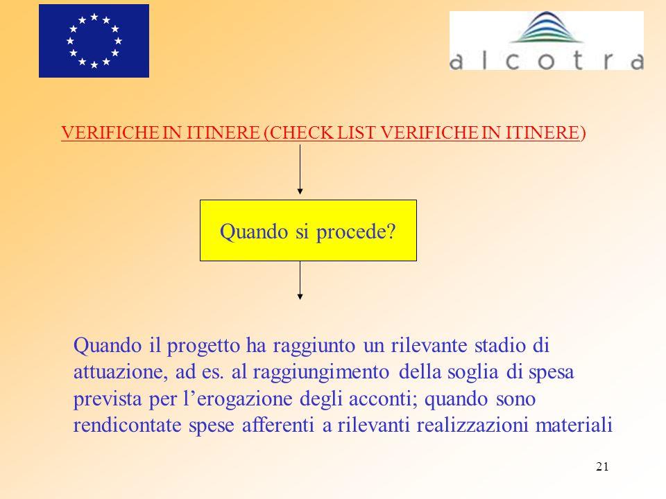 21 VERIFICHE IN ITINERE (CHECK LIST VERIFICHE IN ITINERE) Quando si procede? Quando il progetto ha raggiunto un rilevante stadio di attuazione, ad es.