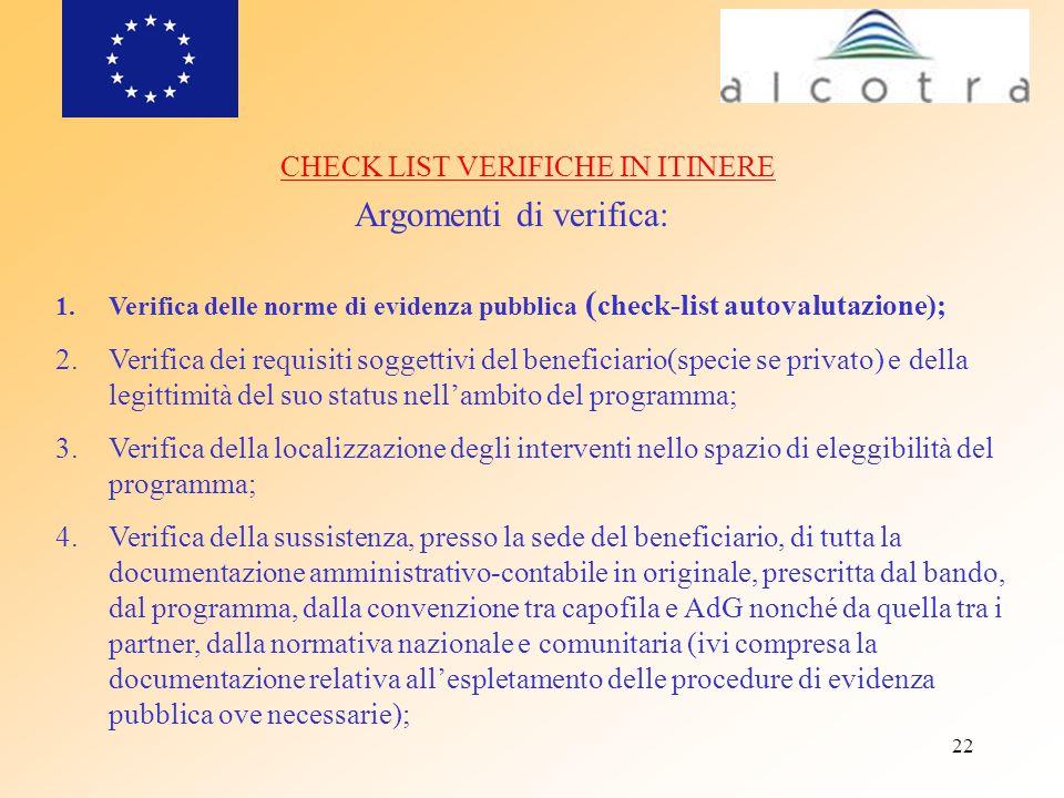 22 CHECK LIST VERIFICHE IN ITINERE Argomenti di verifica: 1.Verifica delle norme di evidenza pubblica ( check-list autovalutazione); 2.Verifica dei re