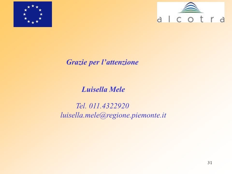31 Grazie per lattenzione Luisella Mele Tel. 011.4322920 luisella.mele@regione.piemonte.it