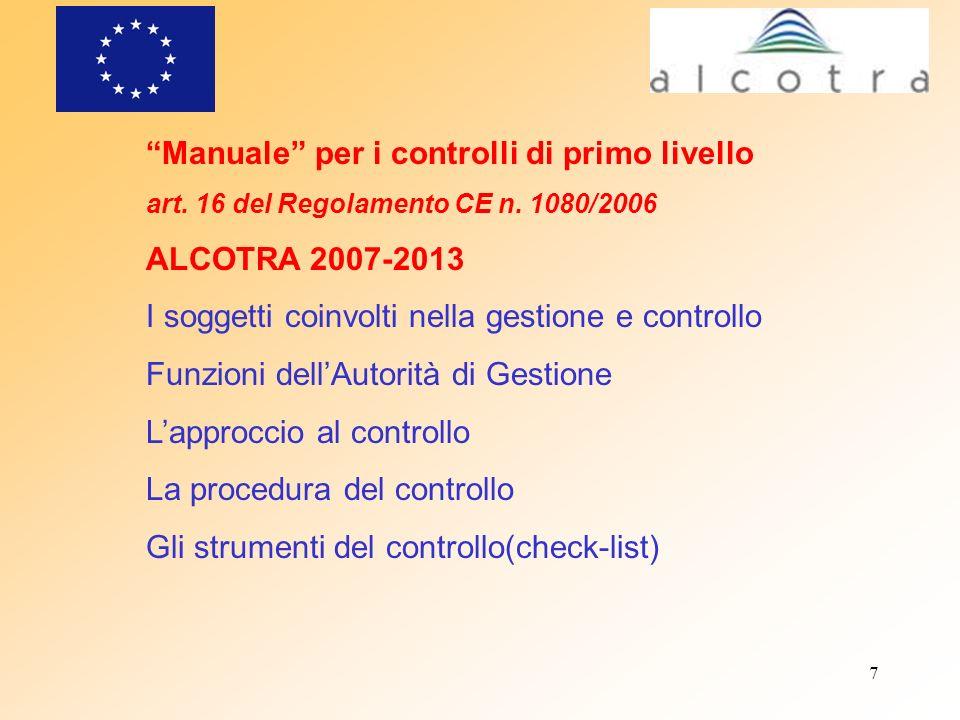 7 Manuale per i controlli di primo livello art. 16 del Regolamento CE n. 1080/2006 ALCOTRA 2007-2013 I soggetti coinvolti nella gestione e controllo F