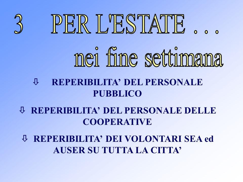 REPERIBILITA DEL PERSONALE PUBBLICO REPERIBILITA DEL PERSONALE DELLE COOPERATIVE REPERIBILITA DEI VOLONTARI SEA ed AUSER SU TUTTA LA CITTA
