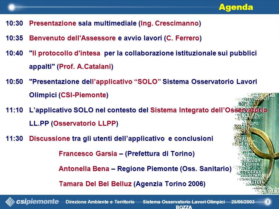 2 Direzione Ambiente e Territorio25/06/2003 BOZZA Sistema Osservatorio Lavori Olimpici BOZZA 10:30Presentazione sala multimediale (Ing.