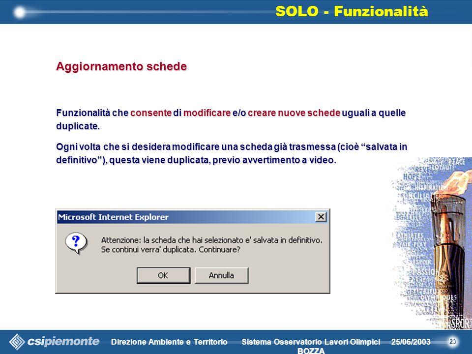23 Direzione Ambiente e Territorio25/06/2003 BOZZA Sistema Osservatorio Lavori Olimpici BOZZA Aggiornamento schede Funzionalità che consente di modificare e/o creare nuove schede uguali a quelle duplicate.