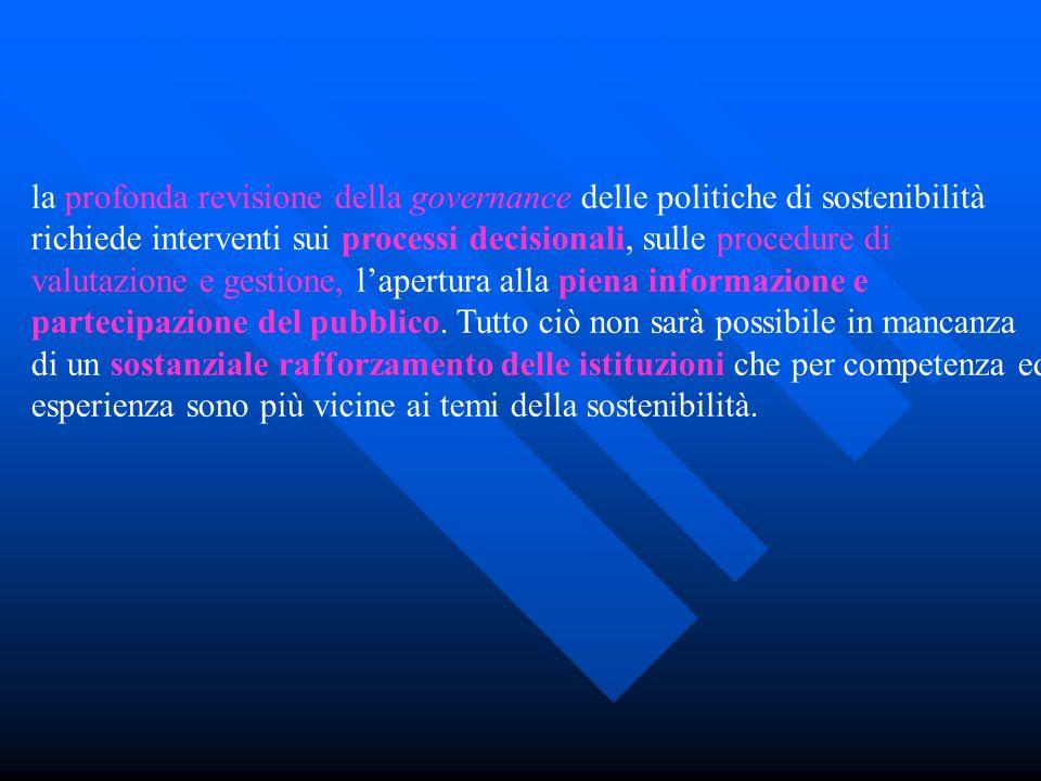 la profonda revisione della governance delle politiche di sostenibilità richiede interventi sui processi decisionali, sulle procedure di valutazione e