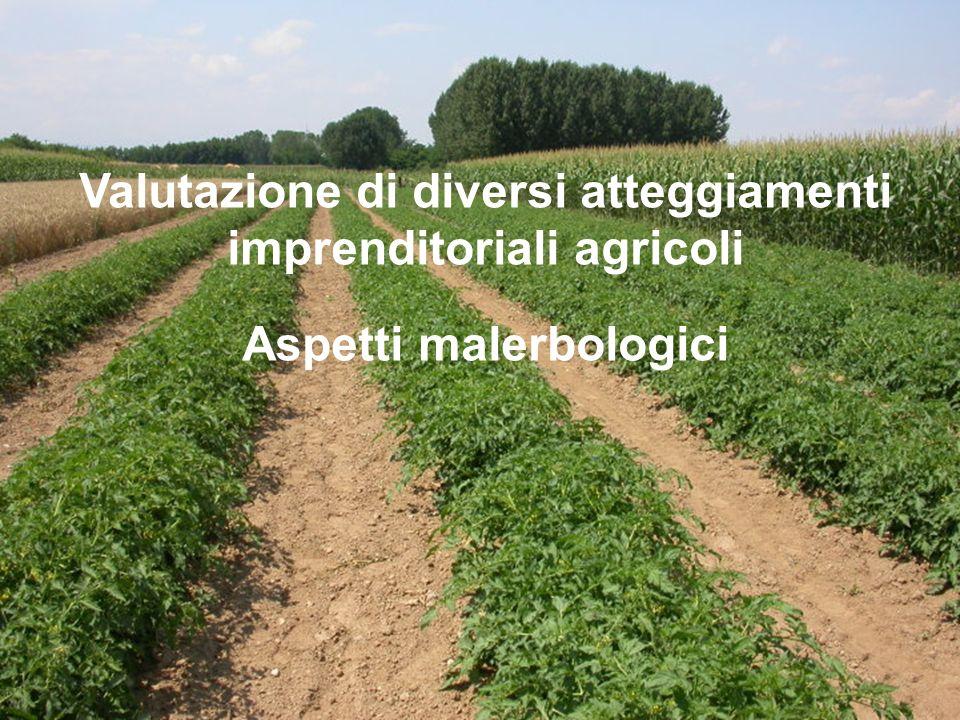 Valutazione di diversi atteggiamenti imprenditoriali agricoli Aspetti malerbologici