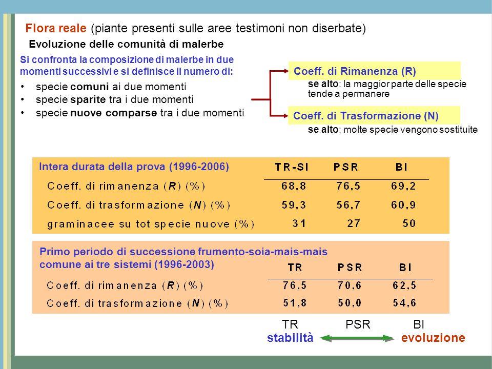 Intera durata della prova (1996-2006) Primo periodo di successione frumento-soia-mais-mais comune ai tre sistemi (1996-2003) stabilitàevoluzione TRBIP