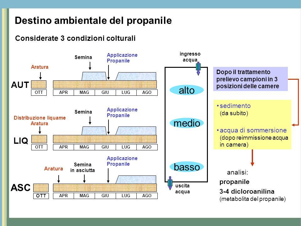 2004 AUT LIQ ASC Giorni dal trattamento 3,4 - dicloroanilina propanile Concentrazioni (µg / litro) Contenuto propanile e 3-4 dicloroanilina acque di sommersione