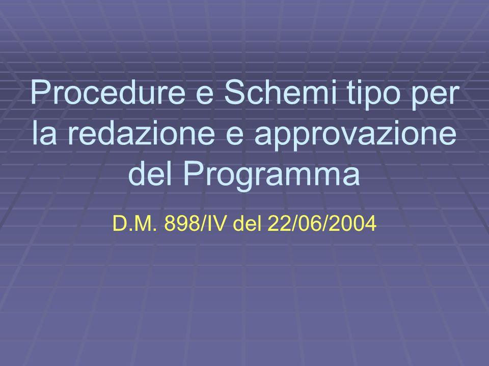 Procedure e Schemi tipo per la redazione e approvazione del Programma D.M. 898/IV del 22/06/2004