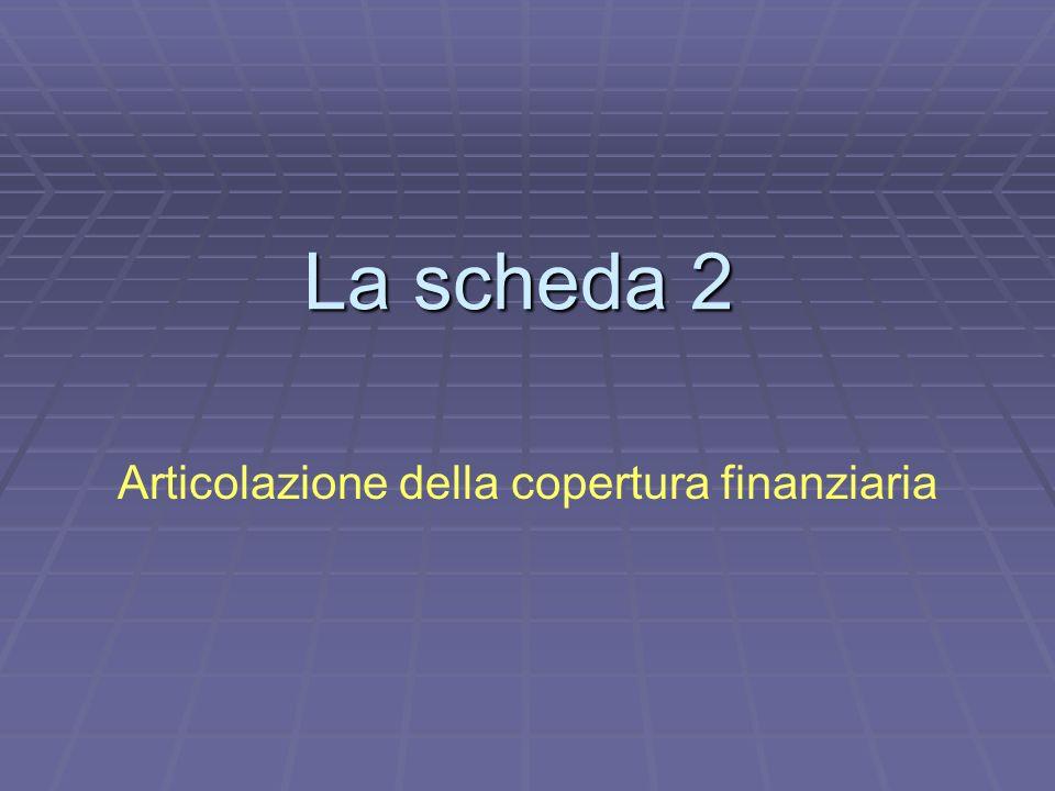 La scheda 2 Articolazione della copertura finanziaria