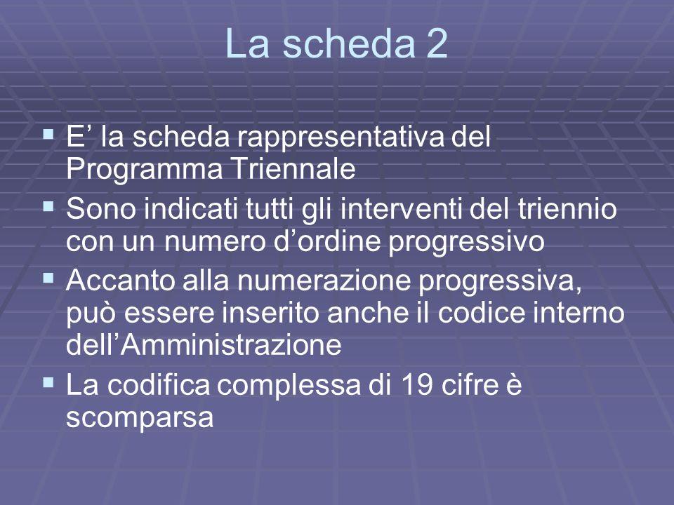 La scheda 2 E la scheda rappresentativa del Programma Triennale Sono indicati tutti gli interventi del triennio con un numero dordine progressivo Acca