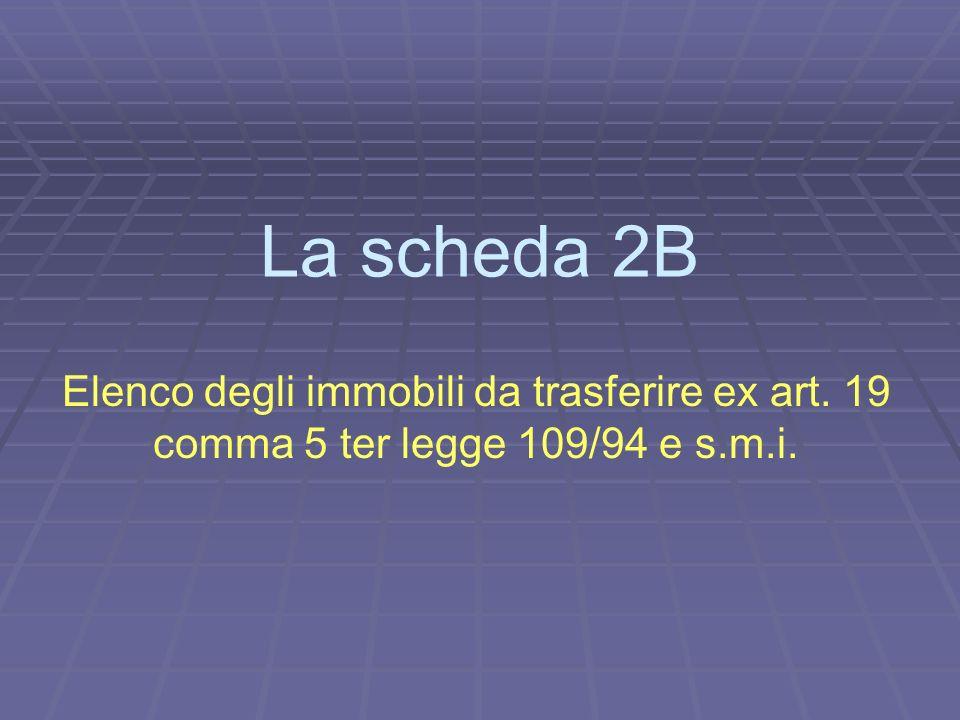 La scheda 2B Elenco degli immobili da trasferire ex art. 19 comma 5 ter legge 109/94 e s.m.i.