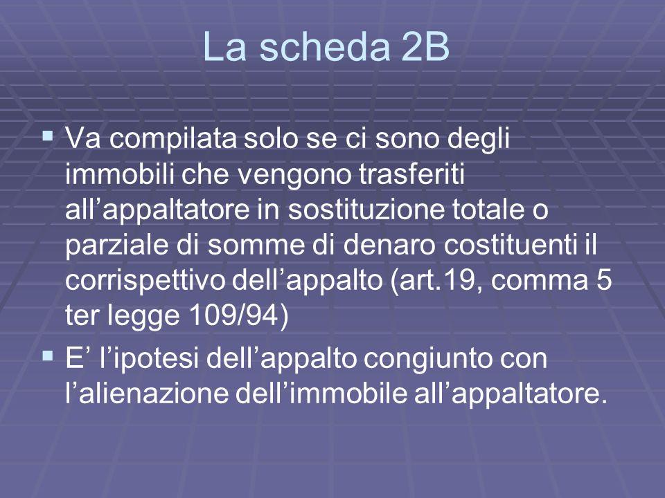 La scheda 2B Va compilata solo se ci sono degli immobili che vengono trasferiti allappaltatore in sostituzione totale o parziale di somme di denaro co