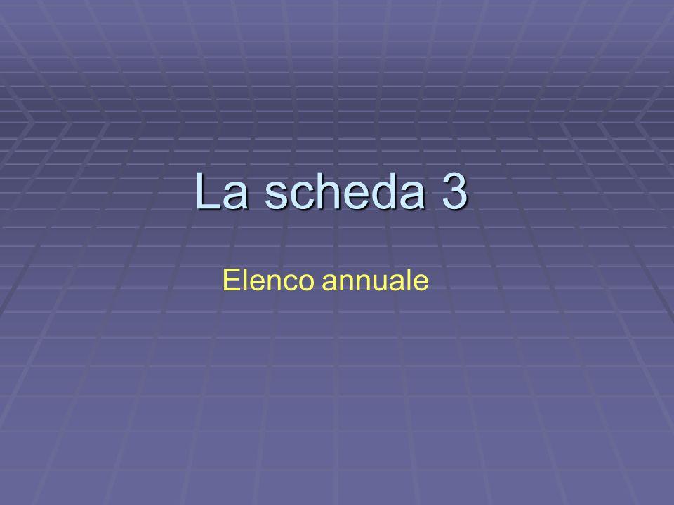 La scheda 3 Elenco annuale