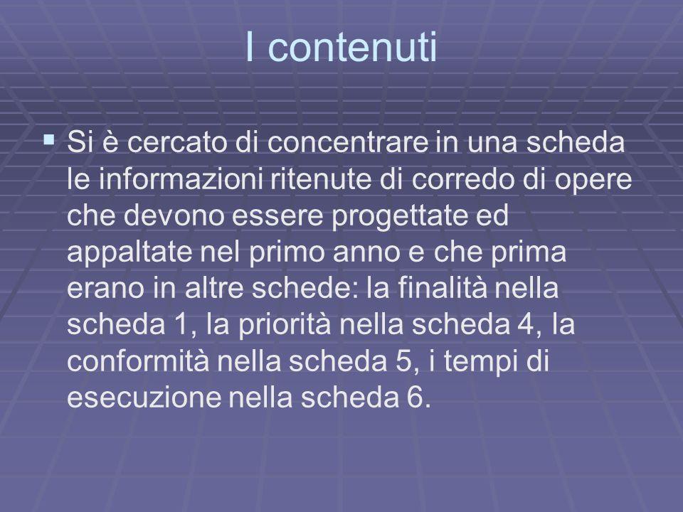 I contenuti Si è cercato di concentrare in una scheda le informazioni ritenute di corredo di opere che devono essere progettate ed appaltate nel primo