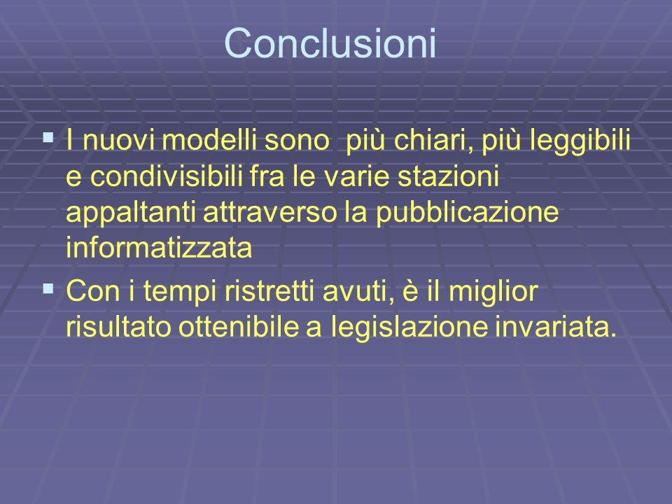 Conclusioni I nuovi modelli sono più chiari, più leggibili e condivisibili fra le varie stazioni appaltanti attraverso la pubblicazione informatizzata