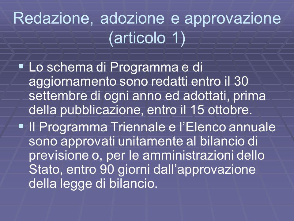 Redazione, adozione e approvazione (articolo 1) Lo schema di Programma e di aggiornamento sono redatti entro il 30 settembre di ogni anno ed adottati,