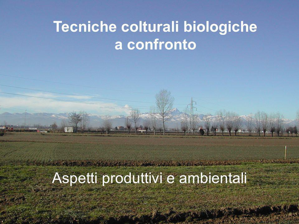 Tecniche colturali biologiche a confronto Aspetti produttivi e ambientali