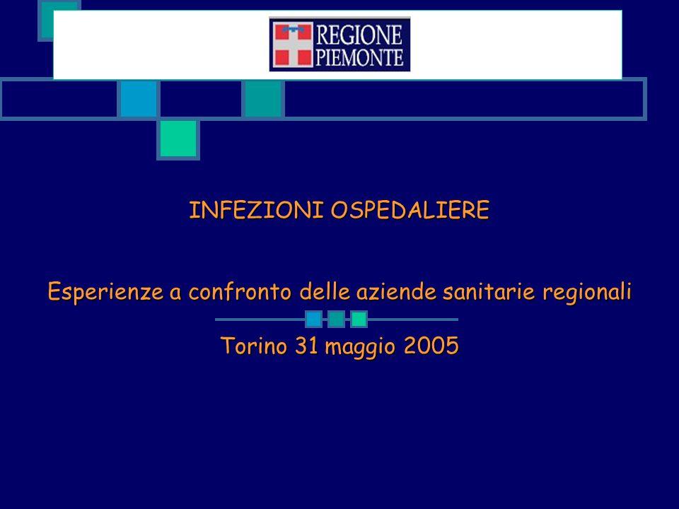 INFEZIONI OSPEDALIERE Esperienze a confronto delle aziende sanitarie regionali Torino 31 maggio 2005