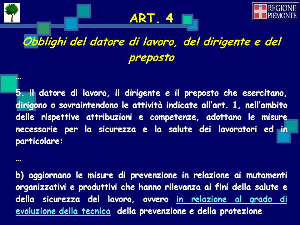 ART.4 Obblighi del datore di lavoro, del dirigente e del preposto … 5.