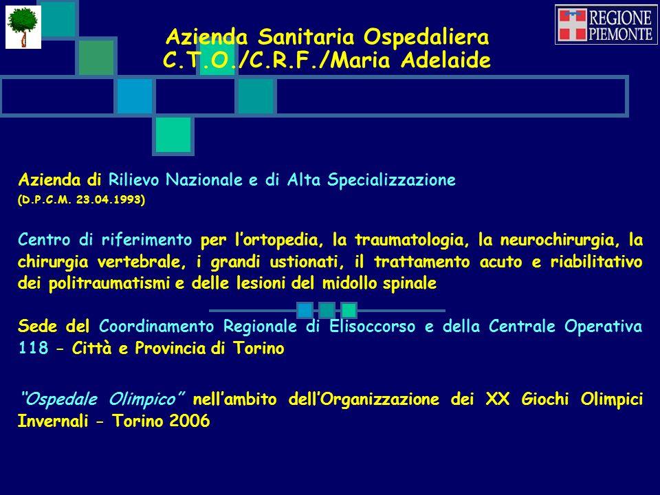 Azienda Sanitaria Ospedaliera C.T.O./C.R.F./Maria Adelaide Azienda di Rilievo Nazionale e di Alta Specializzazione (D.P.C.M.