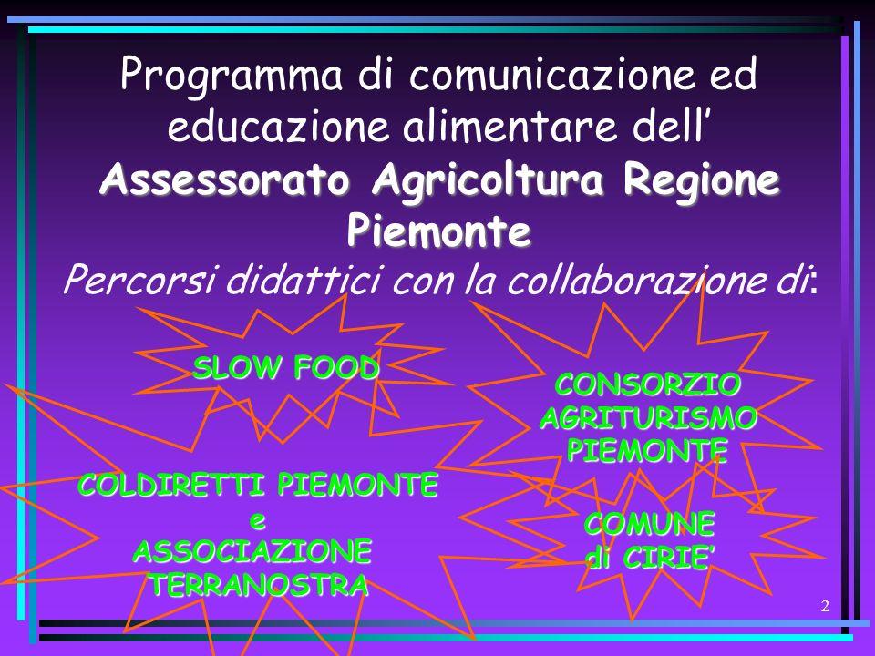 2 Assessorato Agricoltura Regione Piemonte Programma di comunicazione ed educazione alimentare dell Assessorato Agricoltura Regione Piemonte Percorsi didattici con la collaborazione di : SLOW FOOD CONSORZIO AGRITURISMO PIEMONTE COLDIRETTI PIEMONTE eASSOCIAZIONETERRANOSTRA COMUNE di CIRIE