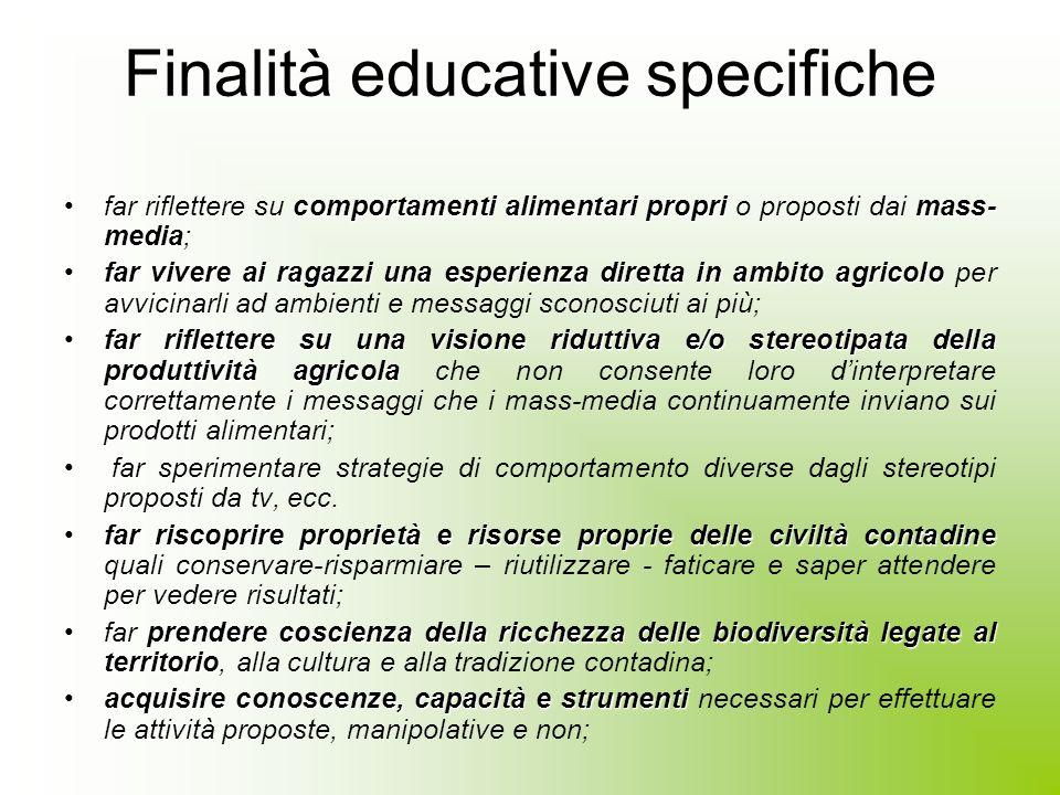 Finalità educative ragazzi sono soggetti attivinella scelta dei prodotti agricoliProporre sperimentazione di comportamenti, diversi dagli usuali, in p