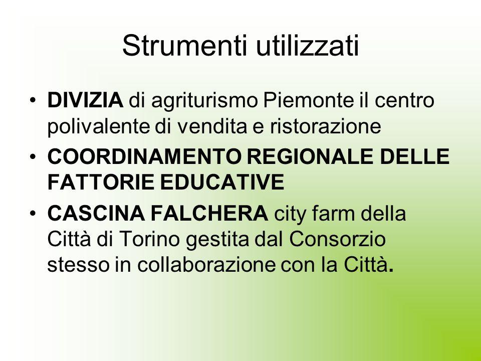 Strumenti utilizzati DIVIZIA di agriturismo Piemonte il centro polivalente di vendita e ristorazione COORDINAMENTO REGIONALE DELLE FATTORIE EDUCATIVE CASCINA FALCHERA city farm della Città di Torino gestita dal Consorzio stesso in collaborazione con la Città.