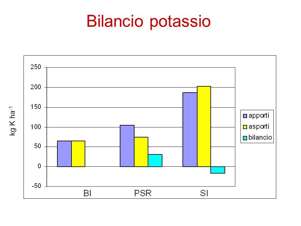 Bilancio potassio kg K ha -1