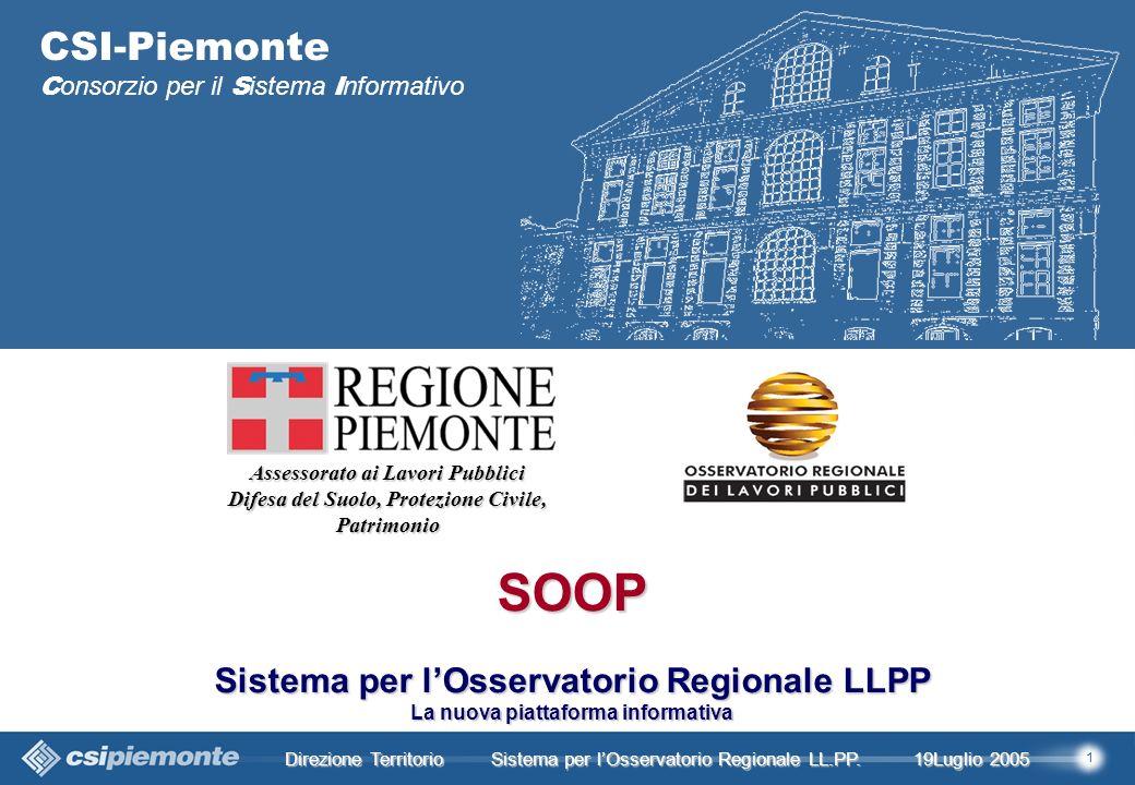 1 Direzione Territorio 19Luglio 2005 19Luglio 2005 Sistema per lOsservatorio Regionale LL.PP.