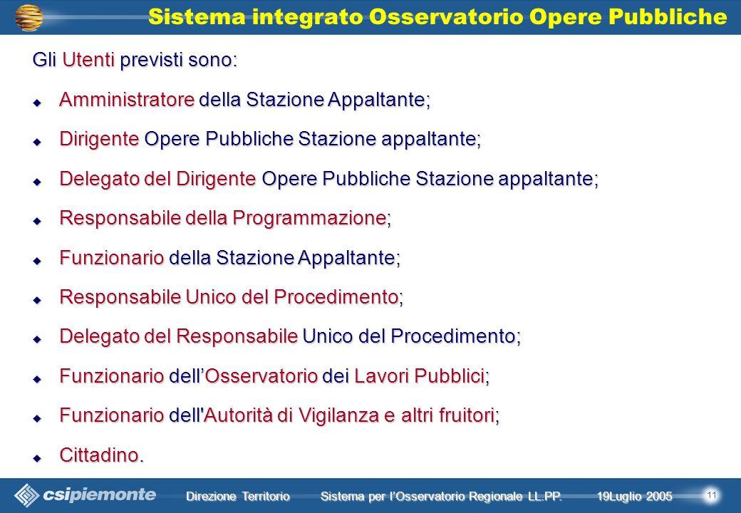 11 Direzione Territorio 19Luglio 2005 19Luglio 2005 Sistema per lOsservatorio Regionale LL.PP.