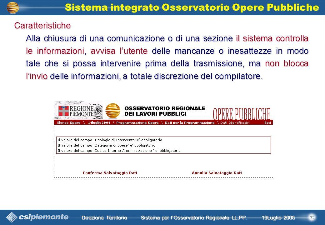 15 Direzione Territorio 19Luglio 2005 19Luglio 2005 Sistema per lOsservatorio Regionale LL.PP.