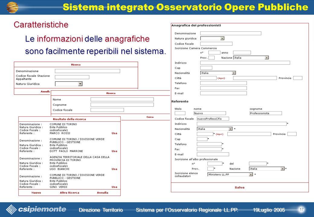 17 Direzione Territorio 19Luglio 2005 19Luglio 2005 Sistema per lOsservatorio Regionale LL.PP.