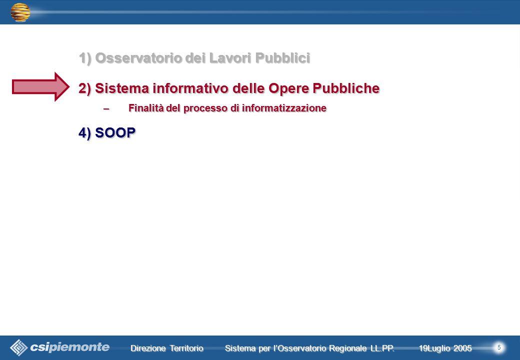 5 Direzione Territorio 19Luglio 2005 19Luglio 2005 Sistema per lOsservatorio Regionale LL.PP.
