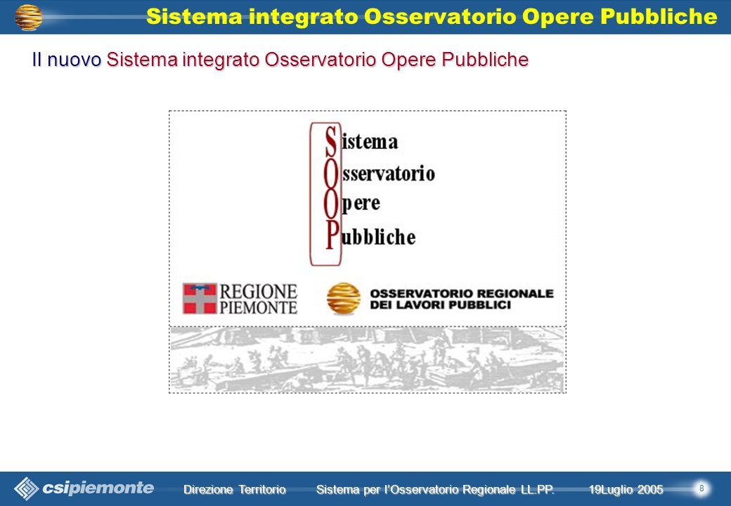 8 Direzione Territorio 19Luglio 2005 19Luglio 2005 Sistema per lOsservatorio Regionale LL.PP.