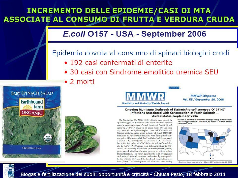 INCREMENTO DELLE EPIDEMIE/CASI DI MTA ASSOCIATE AL CONSUMO DI FRUTTA E VERDURA CRUDA Epidemia dovuta al consumo di spinaci biologici crudi 192 casi co