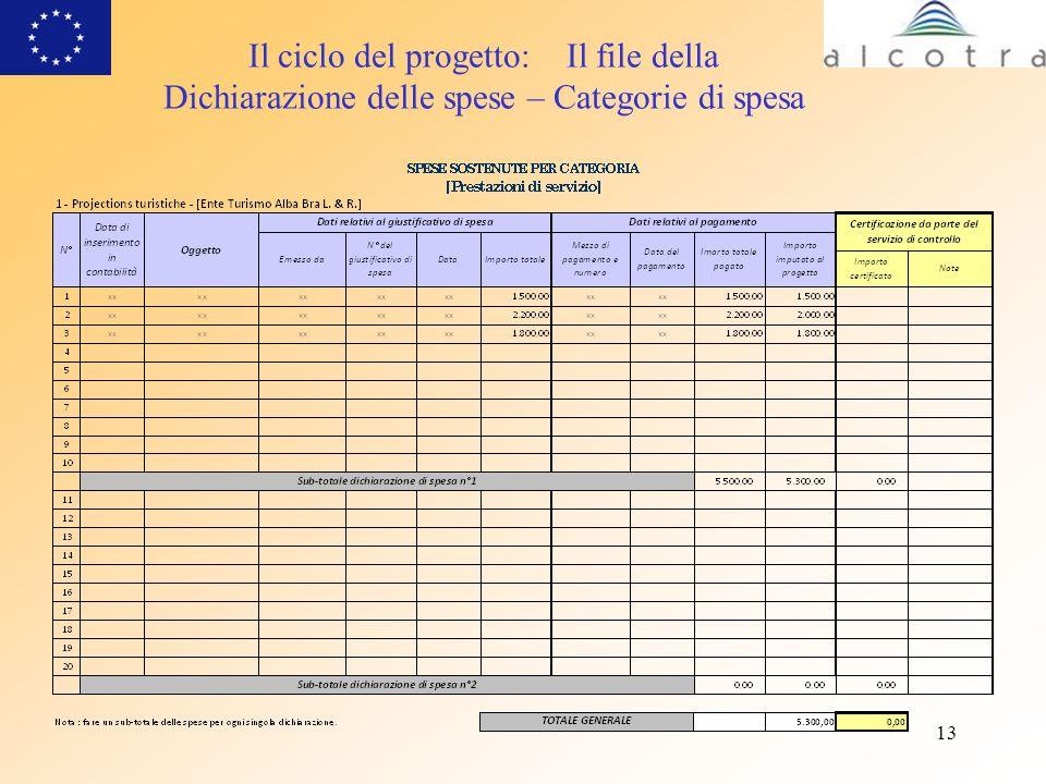 13 Il ciclo del progetto: Il file della Dichiarazione delle spese – Categorie di spesa