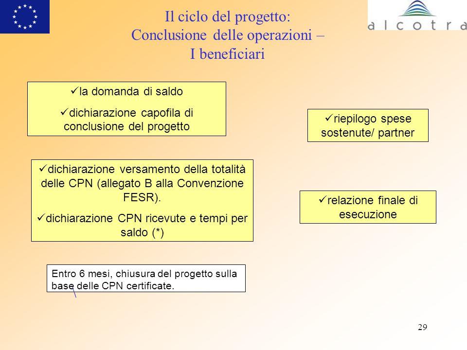 29 Entro 6 mesi, chiusura del progetto sulla base delle CPN certificate. la domanda di saldo dichiarazione capofila di conclusione del progetto \ riep