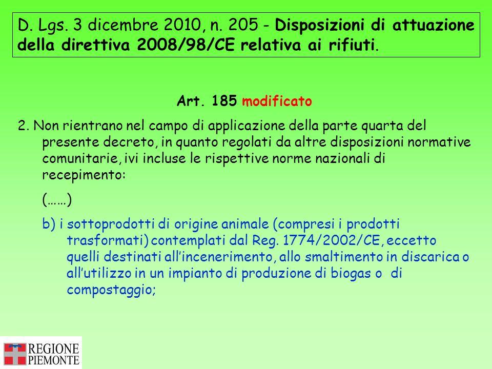 D. Lgs. 3 dicembre 2010, n. 205 - Disposizioni di attuazione della direttiva 2008/98/CE relativa ai rifiuti. Art. 185 modificato 2. Non rientrano nel