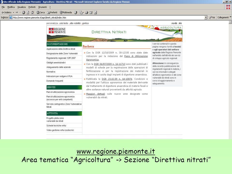 www.regione.piemonte.it Area tematica Agricoltura -> Sezione Direttiva nitrati