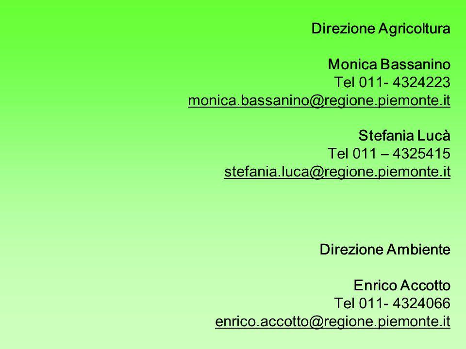 Direzione Agricoltura Monica Bassanino Tel 011- 4324223 monica.bassanino@regione.piemonte.it Stefania Lucà Tel 011 – 4325415 stefania.luca@regione.pie
