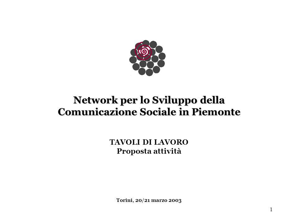 1 Network per lo Sviluppo della Comunicazione Sociale in Piemonte TAVOLI DI LAVORO Proposta attività Torini, 20/21 marzo 2003