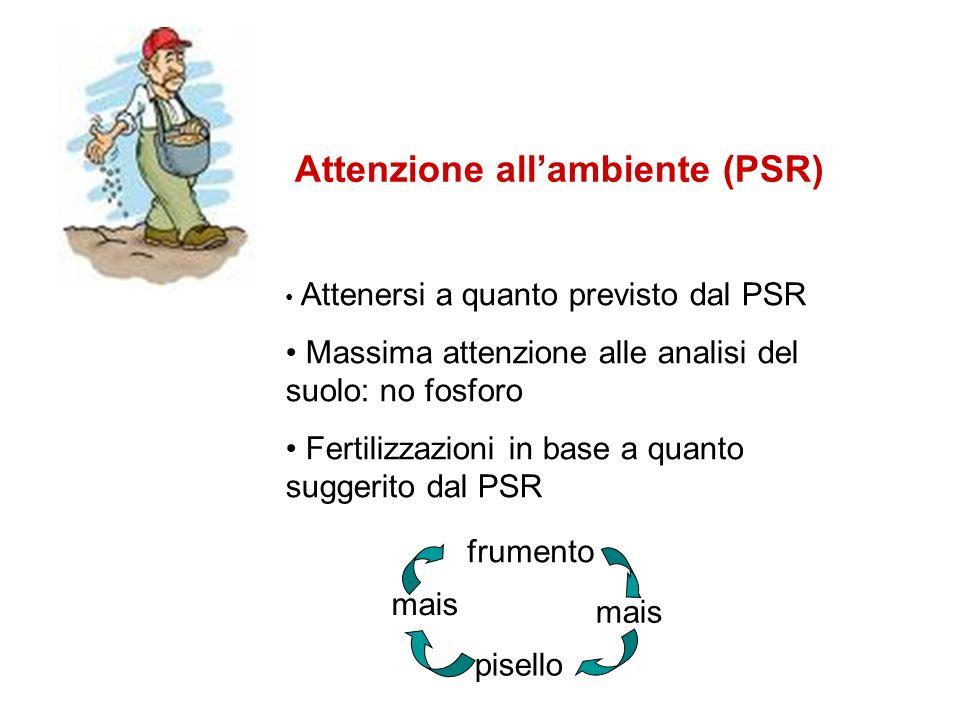 Attenzione allambiente (PSR) frumento mais pisello mais Attenersi a quanto previsto dal PSR Massima attenzione alle analisi del suolo: no fosforo Fert