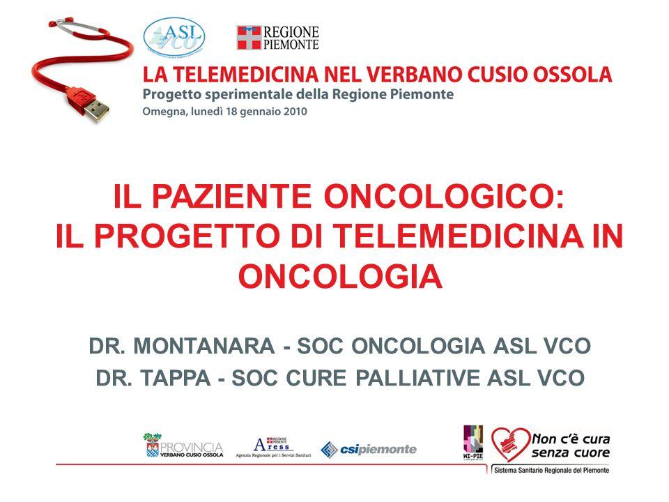 IL PAZIENTE ONCOLOGICO: IL PROGETTO DI TELEMEDICINA IN ONCOLOGIA DR. MONTANARA - SOC ONCOLOGIA ASL VCO DR. TAPPA - SOC CURE PALLIATIVE ASL VCO