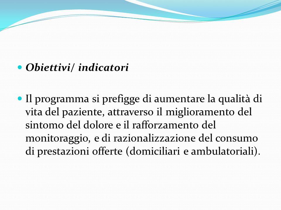 Obiettivi/ indicatori Il programma si prefigge di aumentare la qualità di vita del paziente, attraverso il miglioramento del sintomo del dolore e il r